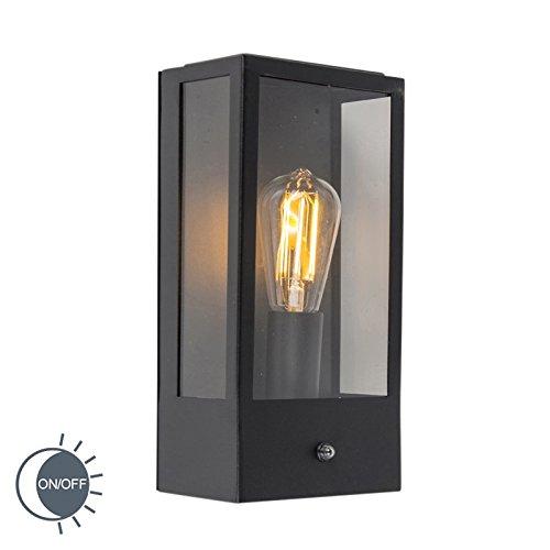 QAZQA Modern Buitenwandlamp zwart met licht-donker sensor - Rotterdam 1 Glas/Roestvrij staal (RVS) Rechthoekig Geschikt voor LED Max. 1 x 60 Watt