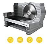 Meat Slicer, Electric Deli Food Slicer with Removable Stainless Steel Blade, Food Pusher, Adjustable...
