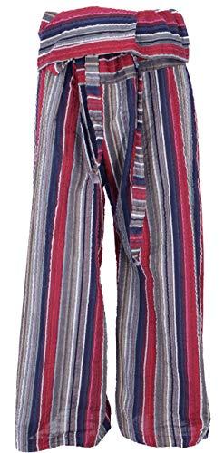 Guru-Shop Thai-Baumwoll-Fischerhose, Gestreifte Wickelhose, Yogahose - Pink, Herren/Damen, Rot, Baumwolle, Size:One Size, Fischerhosen Lange...