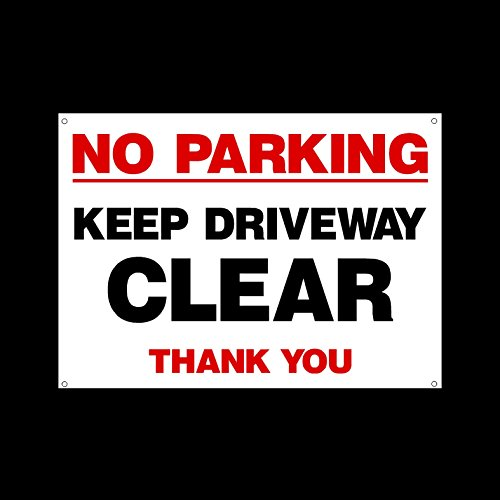 No Parking Keep Driveway Clear Plastic Sign with 4 Pre-Drilled Holes - Private Property, Parking, Clamping, Disabled, Driveway, Do not block (MISC42)