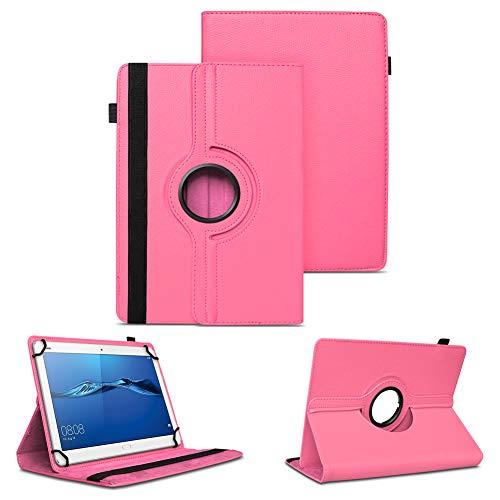 NAUC Tablet Tasche kompatibel für Huawei Mediapad X2 Hülle Schutzhülle Cover Schutz Hülle Drehbar, Farben:Pink