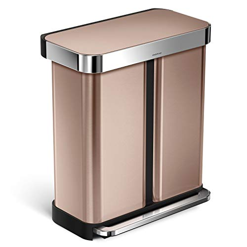simplehuman 58 Liter / 15.3 Gallon Stainless Steel Rectangular Kitchen Step Can Dual Compartment Recycler, Rose Gold Stainless Steel
