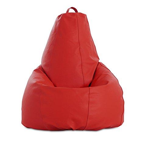 textil-home Puf - Pera moldeable XL Puff - 80x80x130 cm- Color Rojo. Tejido Polipiel Alta Resistencia - Doble repunte - (Incluye Relleno Bolas Poliestireno).