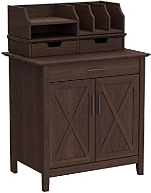 Bush Furniture Key West Secretary Desk with Desktop Organizers, Bing Cherry
