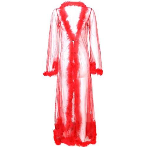 Camisón de mujer falda larga para mujer ropa interior Pijamas de malla transparente falda larga