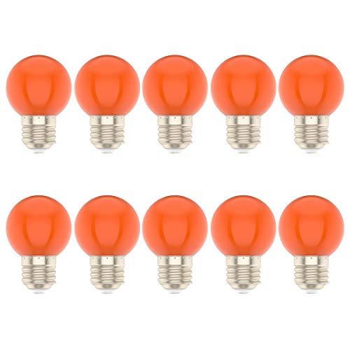 10 Stück 1 Watt LED Farbige Glühbirne E27 Fassung Glühlampe für Hochzeit Halloween Weihnachten Party Bar Orange