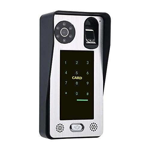 Video Timbre, huella digital Tarjeta IC Videoportero Interfono con sistema de control de acceso a la puerta Visión nocturna
