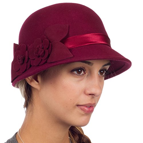 Sakkas 0941LC Vintage Style 100% Wool Cloche Bell Hat with Flower Accent - Burgandy/One Size