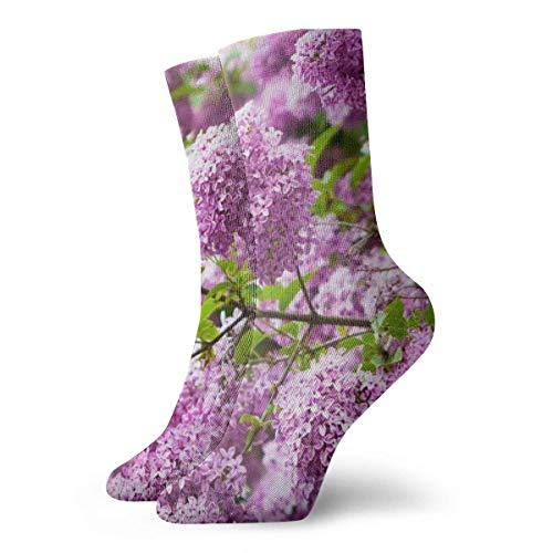 Lilacs Cushion Crew Socks Essential Sport Wicking Work For Men And Women