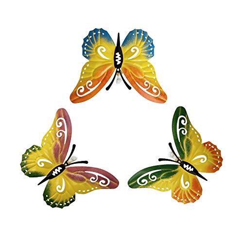 Wyi Lot de 3 papillons en métal 3D avec crochet de suspension pour décoration murale, décoration murale inspirante, décoration murale, décoration murale pour maison, extérieur