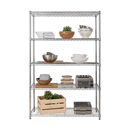 Racking Solutions HEAVY DUTY – Chrome Wire Shelving on Castors 5 Tier Shelving unit – Commercial Quality – 1838mm H x…