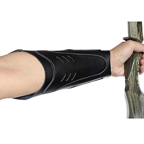 LGYKUMEG Protector de Brazo de Tiro con Arco/Protector de Brazo de Tiro con Arco de Cuero Protector de Mano Brace Armguard Arco Largo Tiro de Caza,Negro
