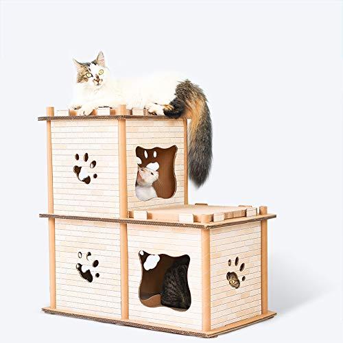 Aeon hum 爪とぎ 猫 つめとぎ キャットハウス 猫ベッド キャットタワー 高密度段ボール ストレス解消 ペット用品 組み立て式 多用途 二層