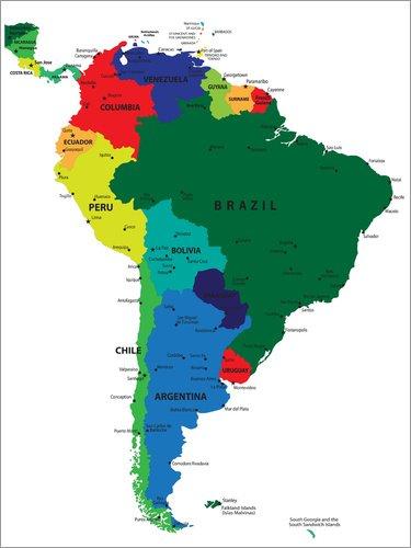Posterlounge Leinwandbild 70 x 90 cm: Südamerika – Politische Karte (Englisch) von Editors Choice - fertiges Wandbild, Bild auf Keilrahmen, Fertigbild auf echter Leinwand, Leinwanddruck