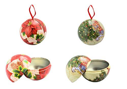 Helmecke & Hoffmann * 2er Set Weihnachtskugeln aus Metall zum Öffnen   Weihnachtsdeko zum Aufhängen   Baumkugeln Baumdeko