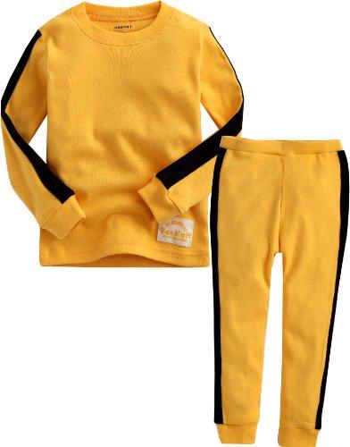 VAENAIT BABY 12M-12 Kids Boys Sleepwear Pajama 2pcs Set Kung Fu Yellow M