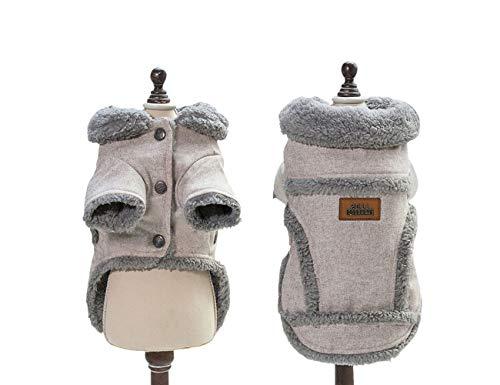 Tineer Hund Herbst Winter Bekleidung Kühle warme Tuch Britische Art Weste Gemütliche Jacke Mäntel mit Pelzkragen Kleine mittelgroße Hunde (M, Brown)