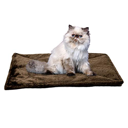 Furhaven Pet Cat Bed Heating Pad - ThermaNAP Quilted Faux Fur Insulated Thermal Self-Warming Pet Bed Pad for Dogs and Cats, Espresso, Small