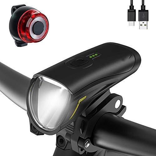 XWYWP Juego de luces para bicicleta de 50 lux, USB, recargable, luz LED, zona de rango cercano, luz lateral, para todas las bicicletas