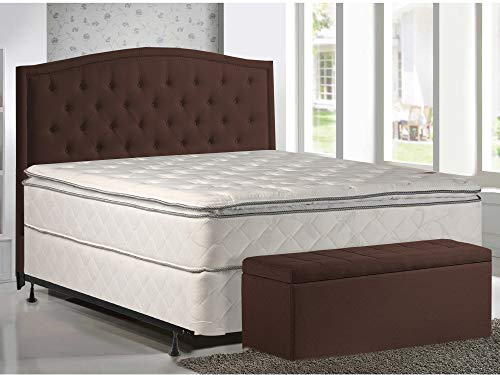 10-Inch Pillowtop Innerspring Mattress and 8' Wood Box Spring/Foundation Set, with Frame, Queen Size