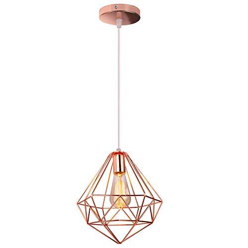 Hängeleuchte Industrial Design Diamant Pendelleuchte Prismatische Lampenschirm Vintage Lampe Deckenleuchte LED Ideal für Esszimmer Wohnzimmer Restaurant (Roségold)