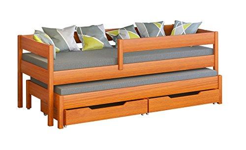 Cama individual Jula para niños, con nido Cajones incluidos. -, madera, Tic, 200x90/190x90