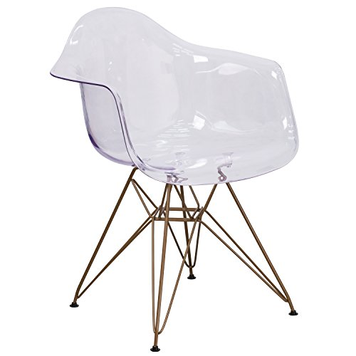 Flash Furniture Allure Series Transparent Side Chair with Gold Base