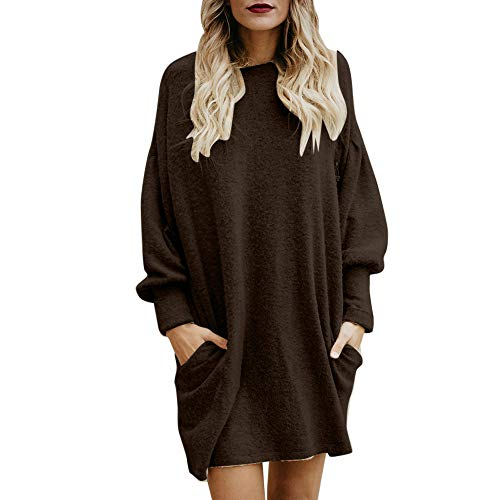 TWIFER Damen Damen Round Collar long Sleeve Pullover kaffee x-large / us 42