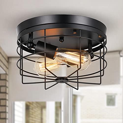 Qcyuui Lámpara de techo industrial de montaje semi empotrado, lámpara de techo tipo jaula rústica de metal E27, iluminación de cocina negra vintage para comedor de pasillo de granja, 2 luces