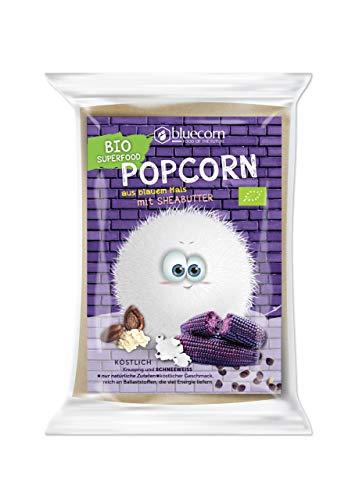BLUECORN Bio-Popcorn aus Blauem Mais 10 x 100g | Für die Mikrowelle, mit Sheabutter und Salz | High Carb, ohne Zugabe von Zucker, ohne Palmöl, glutenfrei, vegan | Ohne künstliche Zusatzstoffe