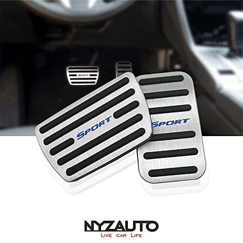 NYZAUTO Anti-Slip Performance Foot Pedal Pads Compatible with Honda 10th gen Civic,Auto No Drilling Aluminum Brake and Accelerator Pedal Covers Silver-Blue