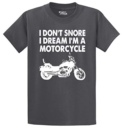 Comical Shirt Men's Heavyweight Tee I Don't Snore Dream I'm Motorcycle Charcoal 4XL