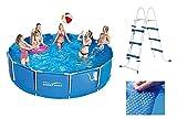 VDP Summer Waves Frame Pool 366x91cm Rahmen Swimming Pool Familien Schwimmbad mit Filterpumpe + Leiter + Solarfolie