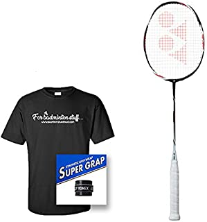 Badminton Avenue Bundle Includes - Yonex Duora Z-Strike Badminton Racket (3U/G4, Made in Japan) Strung w/BG-65 @ 24 lbs, 1 Super GRAP Overgrip, Custom T-Shirt
