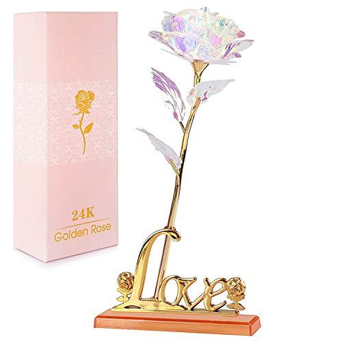 NewX Gold Rose Flower Present 24 Karat Goldene Folie mit Luxus-Geschenkbox Große Geschenkidee für Valentinstag, Muttertag, Erntedankfest, Weihnachten, Geburtstag, Jubiläum