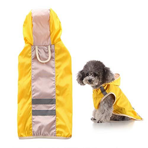 Lichtgewicht Regenjas Poncho Hoodies Regenjas Voor Honden Ajustable with Strip Reflective Pet Waterproof Clothes,Yellow,XXXXL