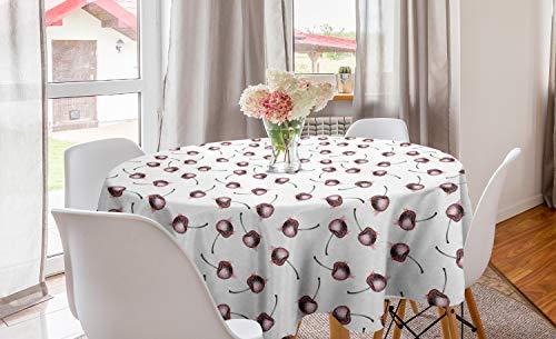 ABAKUHAUS Cerise Nappe Ronde, Fruit Grunge Sketch, Nappe en Cercle pour Salle à Manger ou Cuisine, 150 cm, Blanc Rose pâle