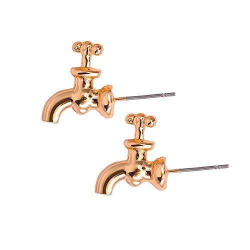 PU Ran donne moda rubinetto di acqua del rubinetto a forma di orecchini gioielli accessori e Lega, colore: Golden, cod. 3559