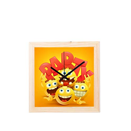Enhusk Smiley Gesichter Emotion Gesichtsausdruck Nicht tickt Platz Stille Holz Diamant Große Display Digital Batterie Wanduhren Malerei Zifferblatt Für Küche Kind Schlafzimmer Home Office Decor