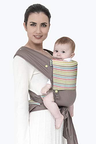 MHUG Mei Tai Babytrage ergonomisch und patentiert, Variante Stripy, superweiche 100% Baumwolle, Streifen und Taupe