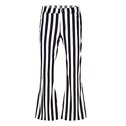 Agoky Herren 70er Jahre Retro Schlaghose Breites Bein Streifen Muster Disco Kostüm Halloween Faschingskostüm Schwarz&Weiß XL