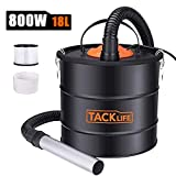 Ash Vacuum TACKLIFE 5 Gallon 800W Fireplace Vacuum with Blow fonction, 1.2M Metal Hose, 5M Power Cable, for use with Fireplaces, Wood Stoves, Ash Collectors, and Pellet Stoves
