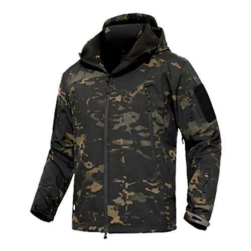 YuanDian Herren Tactical Camouflage Softshelljacke Herbst Winter Outdoor Armee Military Fleecejacke Wasserdicht Winddicht Warm Mit Kapuze Trekking Wander Skijacke Jagd Mantel Dunkle Tarnung 3XL