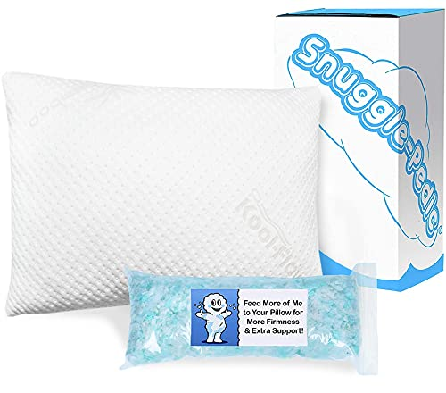 Snuggle-Pedic Adjustable Gel-Infused Shredded Memory Foam Pillow with Cooling Bamboo Cover-...
