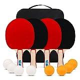 XGEAR Ping Pong Paddle Set ;Complete Table Tennis Set ; Table Tennis Racket Set,4 Paddles, 8 Balls,...