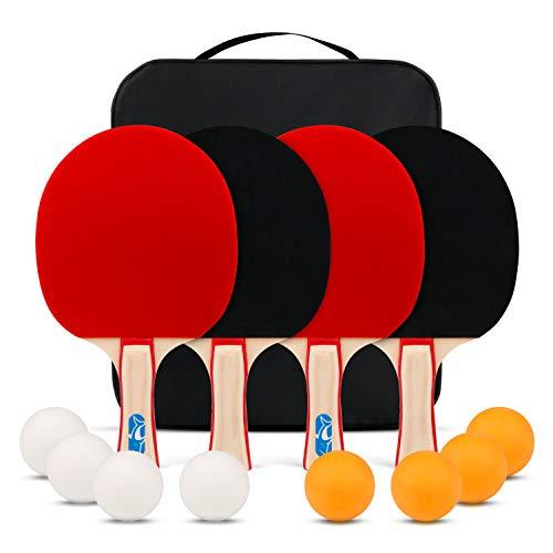 XGEAR Sets de Ping Pong Juego Tenis de Mesa con 4 Raquetas + 8 Pelotas + 1 Bolsa Profesionales Palas Pingpong Cómodo Mango Material de Alta Elasticidad