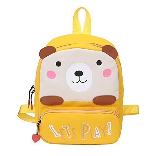 Kinderschultasche Cartoon Nette Leinwand Bär Junge Mädchen Kindergarten Schultasche Wasserdicht und verschleißfest-Gelb_29x22x9cm.