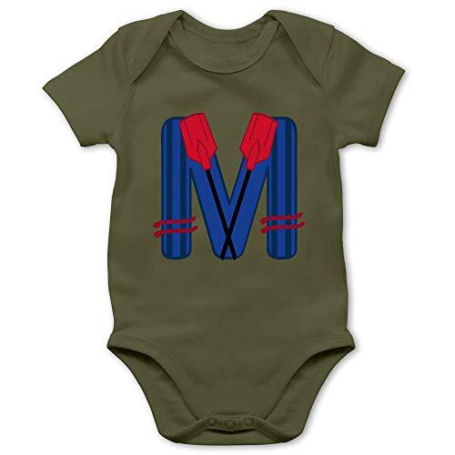 Anfangsbuchstaben Baby - M Schifffahrt - 6/12 Monate - Olivgrün - Ruder - BZ10 - Baby Body Kurzarm für Jungen und Mädchen