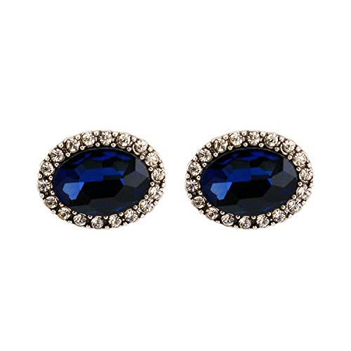 JY Novedad Jewelrygold Plated Mujer Stud Pendientes Oval Zircon Astilla Azul 20X15Mm