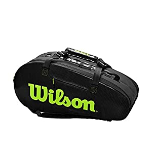 41UPj9TuQ9L. SS300  - Wilson Sporting Goods - Bolsa de Tenis, Color Negro y Gris